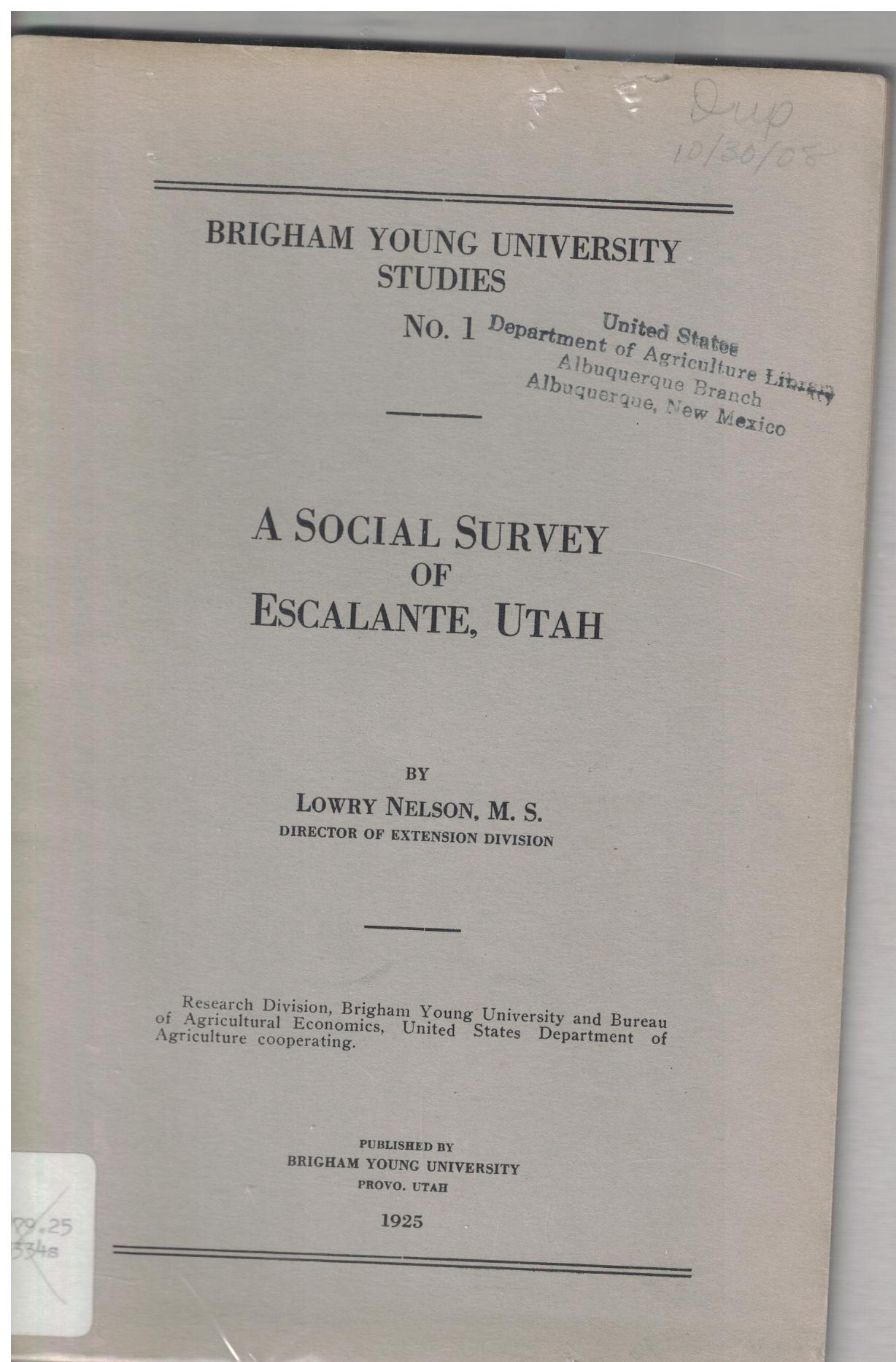 brigham young university studies no 1 a social survey of escalante